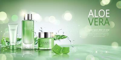 cosmetische fles met aloë vera en water achtergrond