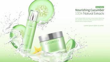 crème gezichtsmasker met opspattend water en plakjes komkommer vector