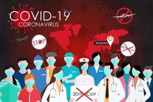 covid 19 wereldwijde pandemieposter vector