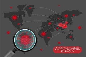 covid 19 wereldwijde verspreidingskaart vector