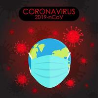 covid 19 poster met aarde in beschermmasker
