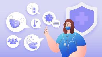 vrouwelijke arts die suggereert hoe te beschermen tegen coronavirus