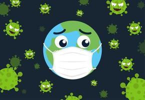 wereld die een beschermend masker draagt ter bescherming tegen virussen