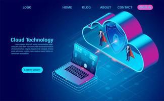 zakenlieden met capes die gegevens in de cloud beschermen