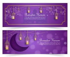 paarse en gouden ramadan kareem banner set vector