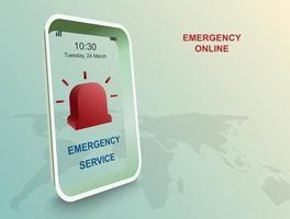 nooddienst door toepassing op smartphone vector