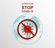 teken voor quarantaine en het stoppen van covid-19 virus vector