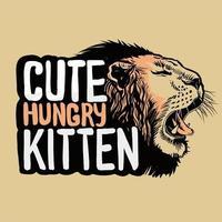 grommende leeuwenkop stijl illustratie voor t-shirt design vector