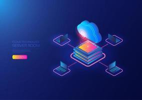 Cloud serverruimte met laptops vector