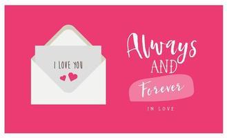 altijd en voor altijd kaart met liefdesbrief vector