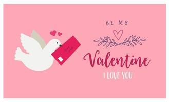 roze wenskaart met duif en liefdesbrief vector