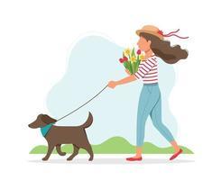vrouw lopen hond met bloemen
