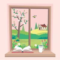 lente raam met uitzicht, een boek en koffie