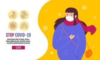 stop covid-19-sjabloon voor spandoek met vrouw in masker