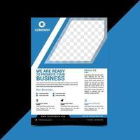 blauwe flyer-sjabloon met schuine ruimte voor afbeelding