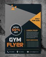 grijze gym flyer met oranje driehoek accenten