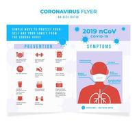coronavirus educatieve flyer met persoon in masker