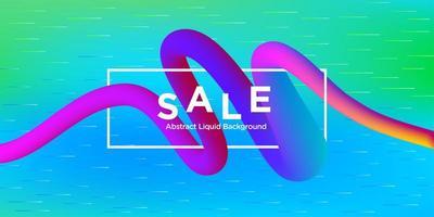 verkoop banner met bochtige verloopvorm en horizontale lijnen vector