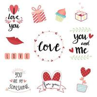 Valentijnsdag hand letters typografie set