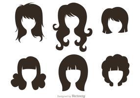 Zwarte Silhouetvrouw Met Haarstijlenvectoren