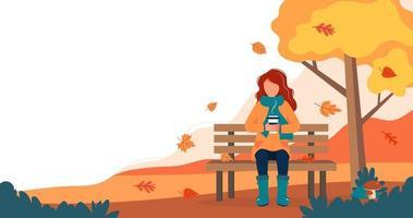 meisje met koffie op bankje in de herfst