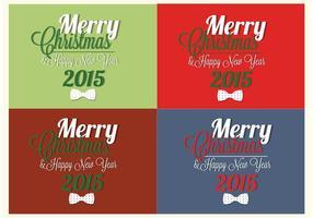 Bow Tie Merry Christmas en Happy New Year Vector Cards