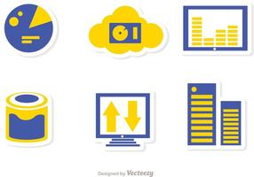 Grote data management iconen vector pack 4