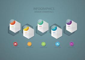 zeshoek vormen zakelijke infographic
