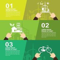 milieuvriendelijke infographic met drie delen