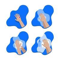 handen geïnfecteerde set wassen vector