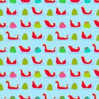 Kleurrijke Kerstman Sleigh Vector Naadloos Patroon