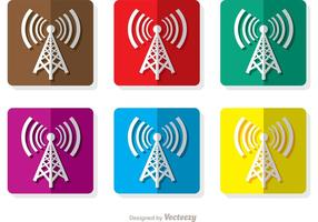 Vierkante Cell Tower Icons vector