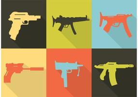 Verzameling van wapens en kanonvormen