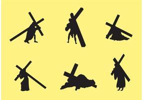 Jezus Draagt De Kruisvectoren