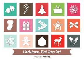 Platte kerst icoon set