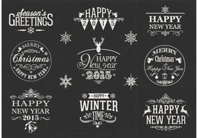 Gratis Retro Gelukkig Nieuwjaar Vector Labels