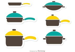 Pan met handvat en kleurrijke deksels vector