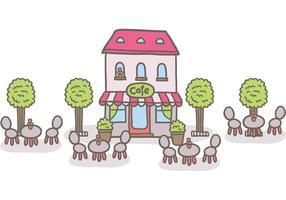 Gratis outdoor cafe vector
