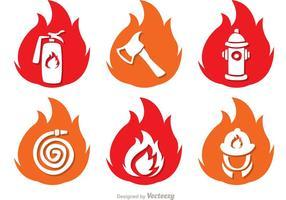 Vlam Pictogrammen Brandweerman Vector Pack