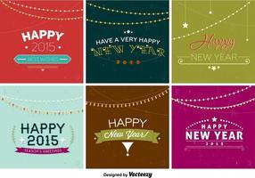 Gelukkig Nieuwjaar Retro Badges