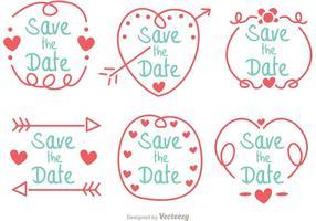 Hand getekend, sparen de datum-vectorpakket