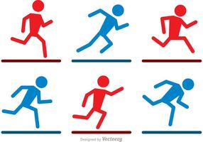 Running Stick Figure Icons Vector Pack