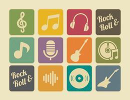 Retro Muziek Pictogrammen vector