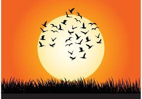 Vector illustratie van de zonsondergang