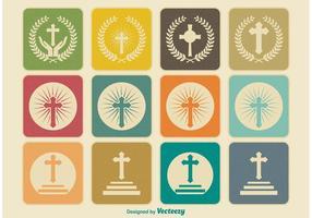 Retro Religieuze Kruis Pictogrammen vector