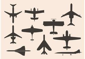 Diverse vliegtuigen in zwart