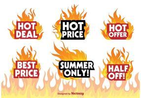 Hot deal badge tekens vector