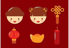 Flat Chinese Maan Nieuwjaar Pictogrammen Vector