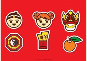 Lunar New Year Cartoon Sticker Vector