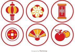 Eenvoudige Lunar Nieuwjaar Cirkel Pictogrammen Vector